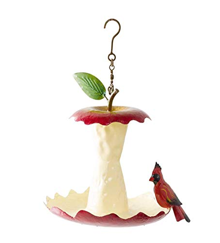 Wind & Weather Metal Apple Core Bird Feeder with Cardinal - 10 L x 8.5 W x 14 - Apple Feeder