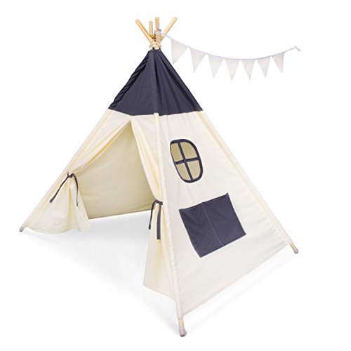besrey Teepee Tent Kids Play Tent with Cotton and Wooden Poles for Children Play Fun Indoor Outdoor - Gray