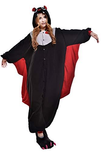 CANASOUR Polyster Adult Halloween Party Unisex Women's Onesie Costume (Small, Black Bat)]()