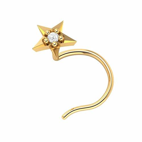 - Demira Jewels 14k Yellow Gold Brilliant Cut Diamond Star Wedding Nose Body Piercing Ring Stud Pin