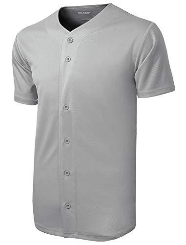 (DRIEQUIP Mens Moisture Wicking Tough Mesh Full-Button Jersey-4XL-Silver)