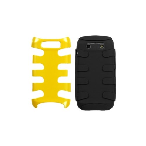 MyBat BB9850HPCSK053NP Fishbone Protective Case for BlackBerry Torch 9850-1 Pack - Retail Packaging - Pearl Yellow/Black ()