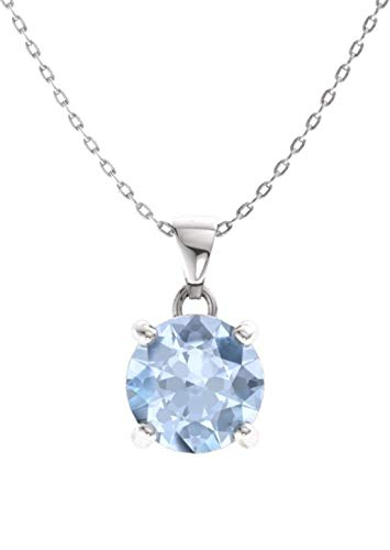 Aquamarine Solitaire - Diamondere Natural and Certified Aquamarine Solitaire Petite Necklace in 14k White Gold | 0.42 Carat Pendant with Chain
