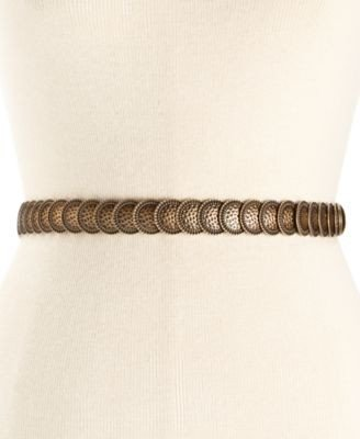 (Style Co Coin Stretch Belt Gold LXL)
