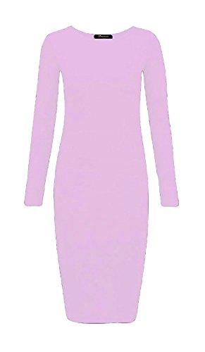 Maniche Ladies Baby Islander Jersey A Womens Dress Bodycon Plain Maxi Stretch 3xl S Fashions Midi Pink Lunghe wgzfgI