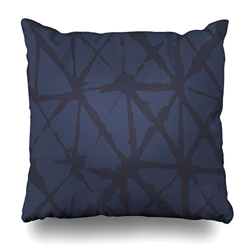 WAYATO Pillow Case Cotton Polyester Blend Throw Pillow Covers Geometric Japanese Blue Watercolour Summer Indigo Bed Home Decor Cushion Cover 18X18 Inch