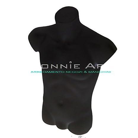 Torso de hombre para maniquí, plástico, irrompible, color negro: Amazon.es: Hogar