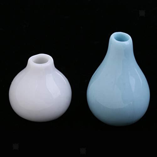 NATFUR 1:12 Dolls House Miniature Room Decoration 2pcs Porcelain Vases White+Blue