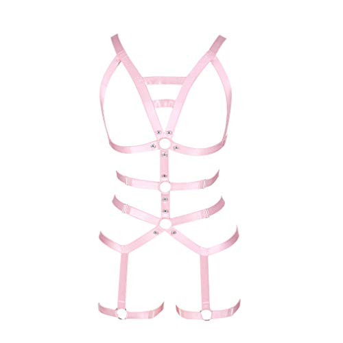 Women's Full Body Harness Garter Belt Stockings Lingerie Elastic Suspender Belt (Pink)