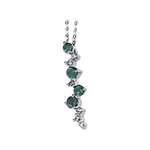 Bonyak Jewelry 14k White Gold Emerald & 1/10 CTW Diamond Scattered Bar 18