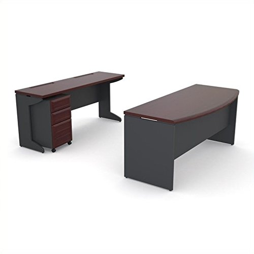 Altra Pursuit Office Set with Mobile File Cabinet Bundle, Cherry/Gray Cherry Executive Office Desk