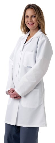 Medline MDT13WHT5E Ladies' Full Length Lab Coat, XX-Large, White -