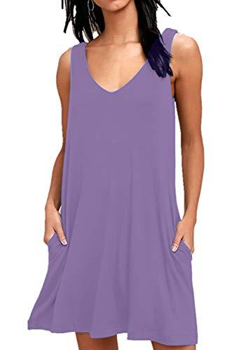 - Fantastic Zone Women Summer Casual T Shirt Dresses Loose Plain Tank Swing Dress with Pockets Gray Purple