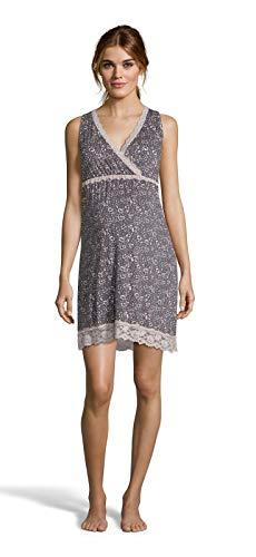 LAMAZE Intimates Womens Maternity Sleeveless Lace Trim V-Neck Chemise Nightgown Graphite Medium