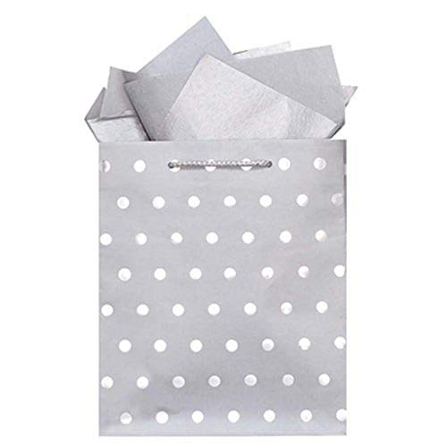 The Gift Wrap Company 6 Count Gift Bags, Large, Silver Classic Dots
