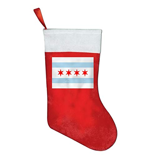 Jinyimingpi Chicago Flag Christmas Stockings Xmas Decoration Gift Bags Red Candy Bag Hanging Accessories Santa Stockings ()
