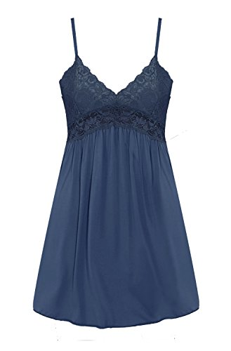 Womens Sleepwear Nightgown Full Slips Lace Sling Dress(Navy Blue,XXL) (Nightgown Chemise)