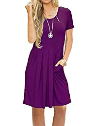 Women's Short Sleeve Pleated Loose Swing Casual Dress...