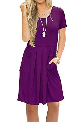 AUSELILY Women's Short Sleeve Outfit Plain Simple Loose T-Shirt Dress Purple M