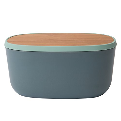 - Berghoff Leo Collection | 12-Inch Bamboo Fiber Bread Box with Bamboo Cutting Board Lid | 2-Piece, Eco-Friendly | Grey, Mint Green