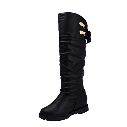 Knee High Boots for Women,HOMEBABY Soft Leather Knee Boots Comfortable Ladies Long Boots Flat Shoes Casual Black