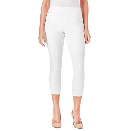 White Cropped Jeans - Nine West Womens Heidi Pull-On Skinny Crop Jeans (White, 10)