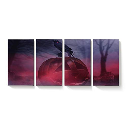 (YEHO Art Gallery Modern Canvas Wall Art Rectangle Artworks Home Art Decor,Horror Halloween Pumpkin Crow Tombstone Design Canvas Oil Painting,Stretched by Wooden Frame,Ready to Hang 18 x 31inch x)