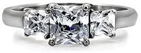 1000 Jewels Malena: Hearts-n-Arrows Princess Cut Ice on Fire CZ 3 Stone Engagement Ring 316 Steel, 3033