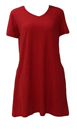 Top Crewneck Cromoncent Shirt Pocket Dresses Blouse Swing Red Womens Pleated wfSq7gU