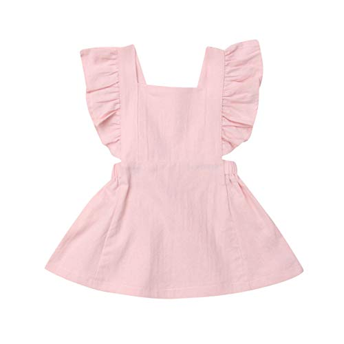 Bagilaanoe Infant Toddler Baby Girls Ruffle Sleeveless Dresses Suspender Princess Sundress Clothes Pink/2-3T