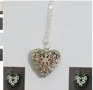 Aqua Glowing Necklace, Locket Necklace, Valentine's Day Gift, Birthday Gift