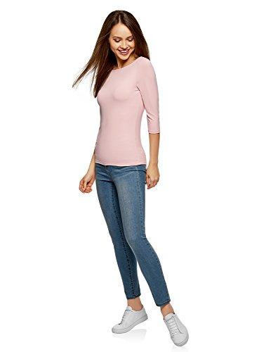 Basic a 3 Shirt con Collection Rosa oodji 4003n 4 T Maniche Donna q0FnI8