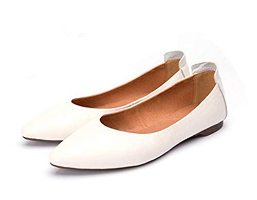 2019 New Spring and Summer Pure Handmade Genuine Leather Female Shoes,Shallow Mouth Flat Bottom Single Shoes,2 Colors,Beige White,8