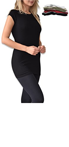 Sexy Basics Women's 6 Pack Cotton Spandex Tunic Cap Sleeve Crew Neck Tee Shirt (Large 9-11, 6 Pack - 2 Black & Assorted Colors) ()