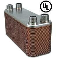 60-plate Brazed Plate Heat Exchanger, 1'' MNPT ports by Brazetek