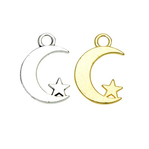 Monrocco 200Pcs Alloy Star and Crescent Moon Pendant Charms for DIY Necklace Bracelet Jewelry Making (Moon Charm)
