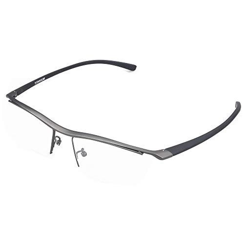 (Men Business Optical Glasses Frame Semi Rimless Streamlined Designer Rectangle Eyeglasses with TR90 Temple (Gun Grey))