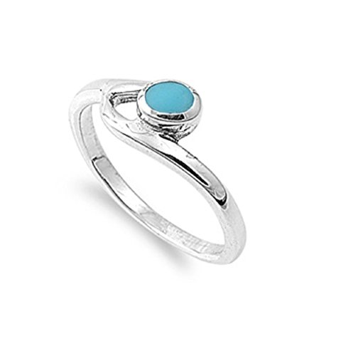 (Round Simulated Turquoise Stone Staccato Art Ring 925 Sterling Silver Size)