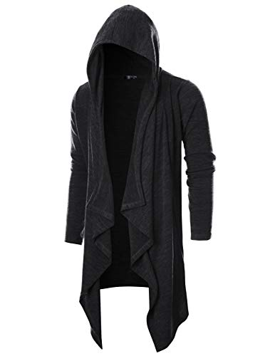 (GIVON Mens Long Sleeve Draped Lightweight Ruffle Shawl Collar Cardigan Hooded Cardigan with)
