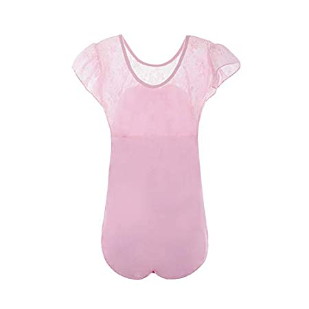 Gsha Girls Leotards for Ballet Lace Neck and Cap Sleeve Tops with Bow Gymnastics Leotard Dancewear