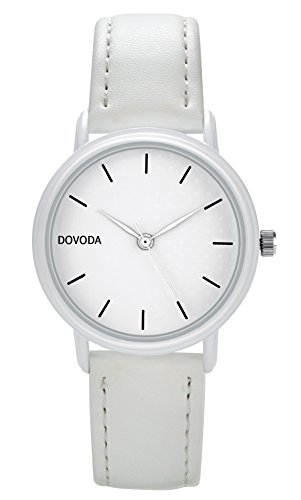 DOVODA Ladies Watches Quartz Fashion White Leather Strap Dress Watch for (Womens White Leather Strap)