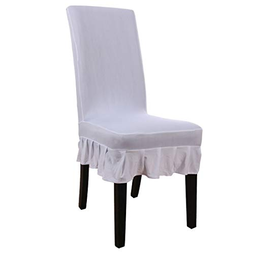 (uxcell Dining Chair Covers,Ruffled Skirt Stool Slipcover Stretch Spandex Chair Protectors Short Kitchen Chair Seat Cover for Home Dining Room Party)