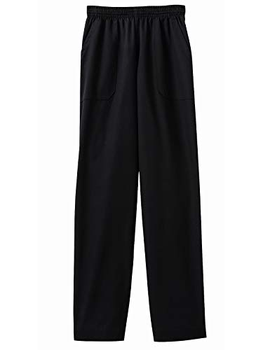 (Five Star Chef Apparel Ladies Pull On Drawstring Elastic Waist Pant (Black, Medium))