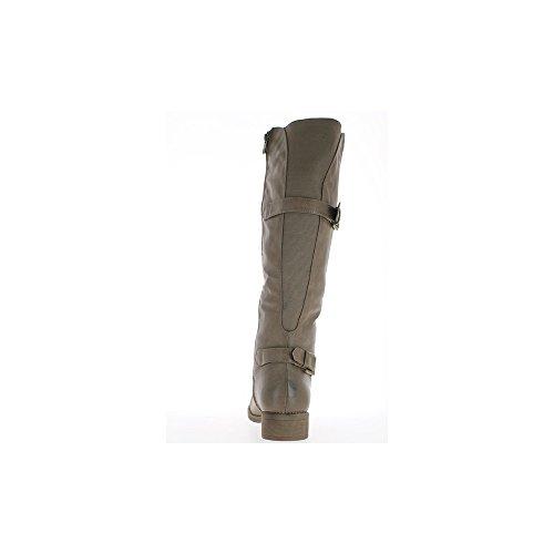 4cm Taupe Doublées Femme De Chaussmoi Taille À Grande Bottes Talon wxXAqA7z
