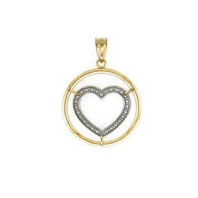 14 carats-Bicolore-Pendentif coeur bulle JewelryWeb