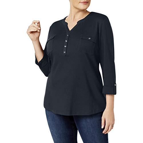 Karen Scott Womens Plus 3/4 Sleeves V-Neck Henley Top Navy 2X from Karen Scott
