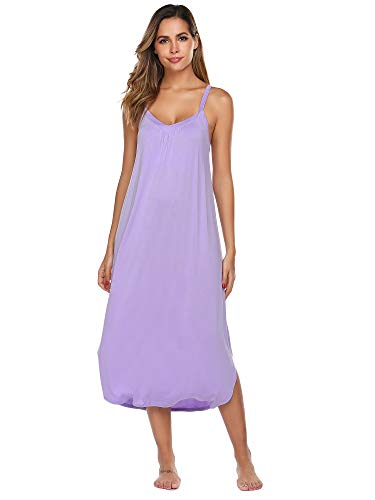 Ekouaer Women's V-Neck Sleeveless Nightgown Thin Shoulder Strap Sexy Casual Modal ()