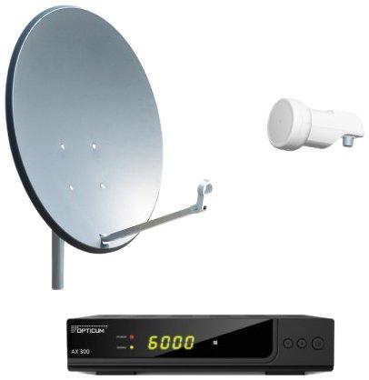 Opticum Digitale 1 Teilnehmer AX 300 HDTV Satelliten-Komplettanlage (Opticum Single LNB, Opticum X, 80 cm Antenne) anthrazit