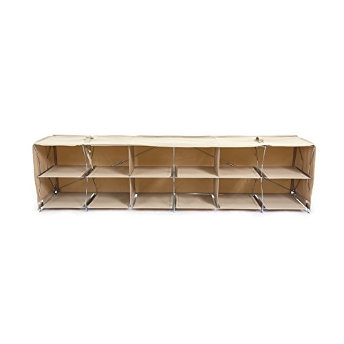 Origami Foldable 12-Cube Shoe Rack, Khaki by Origami