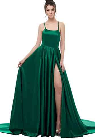 fef58b1d7e0 Xfcastle Womens Satin Slit Prom Dress Backless Long Formal Gown 2019  Emerald Green